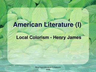 American Literature (I)