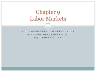 Chapter 9 Labor Markets