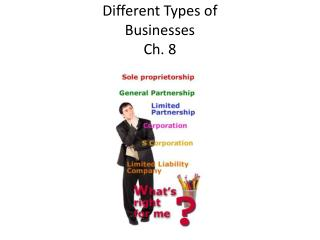 Different Types of  Businesses Ch. 8