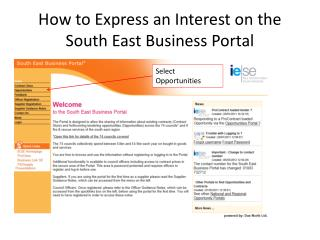 How to Express an Interest on the South East Business Portal