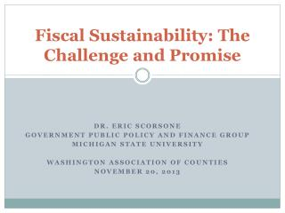 Fiscal Sustainability: The Challenge and Promise