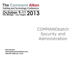COMMANDbatch Security and Administration