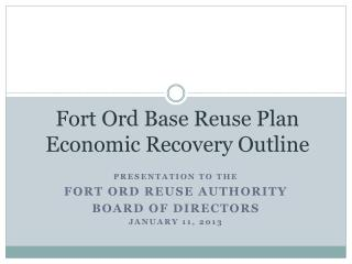 Fort Ord Base Reuse Plan Economic Recovery Outline