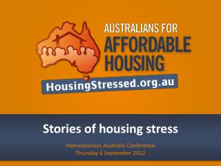 Stories of housing stress