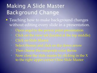 Making A Slide Master Background Change