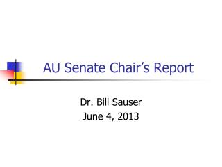 AU Senate Chair's Report
