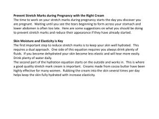 prevent stretch marks during pregnancy with the right cream