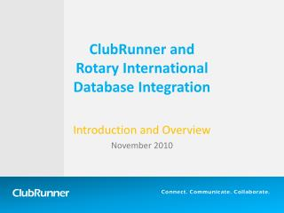 ClubRunner and  Rotary International  Database Integration