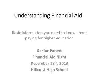 Understanding Financial Aid: