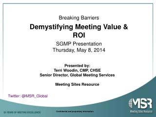 SGMP Presentation Thursday, May 8, 2014