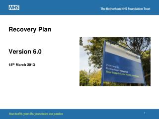 Recovery Plan Version 6.0 18 th  March 2013