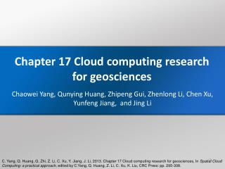 Chapter 17 Cloud  computing research for  geosciences