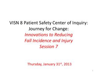 VISN 8 Patient Safety Center of Inquiry: Journey for Change: Innovations to Reducing  Fall Incidence and Injury Session