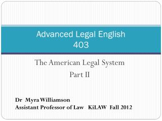 Advanced Legal English 403