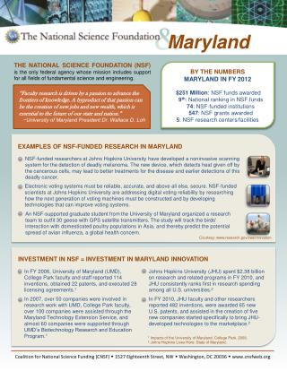 BY THE NUMBERS MARYLAND IN FY 2012