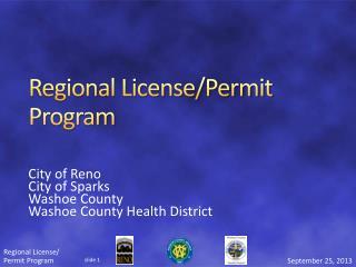 Regional License/Permit Program