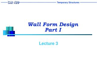 wall form design  part i