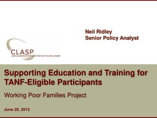 Supporting Education and Training for TANF-Eligible Participants