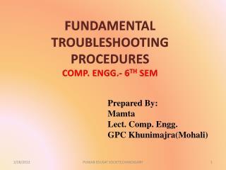 FUNDAMENTAL TROUBLESHOOTING  PROCEDURES COMP. ENGG.- 6 TH  SEM