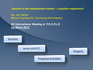 """Seniors in the employment market – a positive experience""  Ing. Jan Vaclav Slovak Chamber Of  Commerce And Industry"