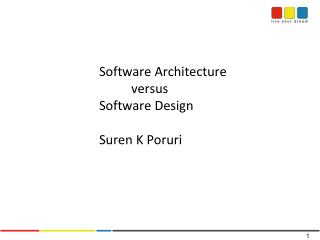 Software Architecture  			versus 		Software Design Suren  K  Poruri