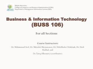 Business  & Information  Technology (BUSS 106)