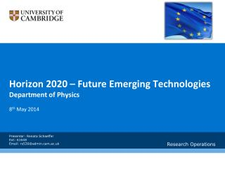 Horizon 2020 – Future Emerging Technologies Department of Physics