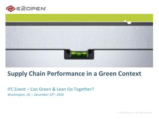 Supply Chain Performance in a Green Context