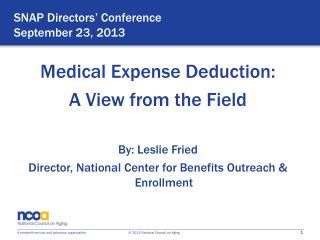 SNAP Directors' Conference September 23, 2013