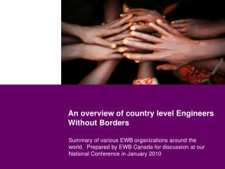 An overview of country level Engineers Without Borders