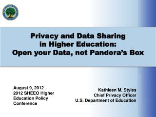 Privacy and Data Sharing  in Higher Education: Open your Data, not Pandora's Box