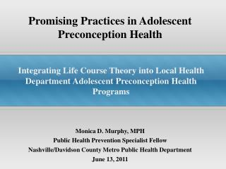 Promising Practices in Adolescent Preconception Health