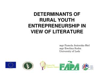 DETERMINANTS OF RURAL YOUTH ENTREPRENEURSHIP IN VIEW  OF  LITERATURE