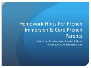Homework Hints For French Immersion & Core French Parents