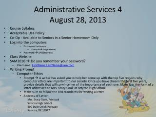 Administrative Services 4 August 28, 2013