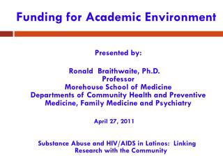 Funding for Academic Environment