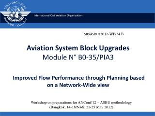 Aviation System Block Upgrades Module N° B0-35/PIA3 Improved Flow Performance through Planning based on a Network-Wide