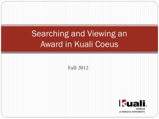 Searching and Viewing an  Award in Kuali Coeus
