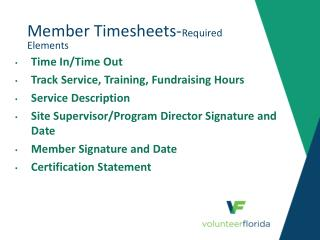 Member Timesheets- Required Elements