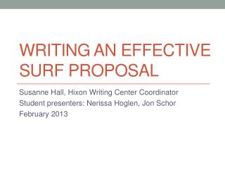 Writing an effective SURF Proposal