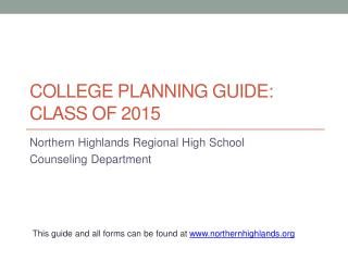 College Planning Guide:  Class of 2015