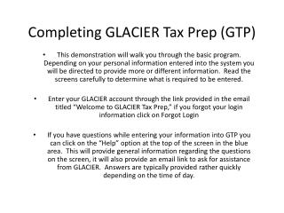 Completing GLACIER Tax  Prep (GTP)