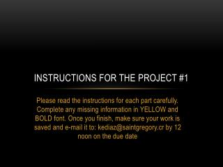 Instructions for the project #1
