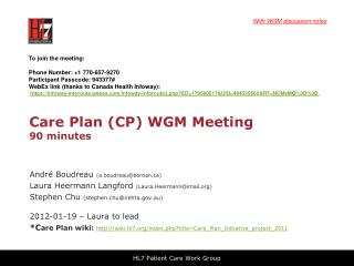 Care Plan (CP) WGM Meeting  90 minutes