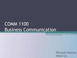 COMM 1100  Business Communication