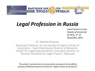 Legal Profession in Russia