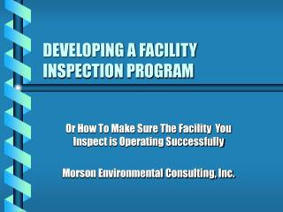 developing a facility inspection program