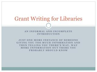 Grant Writing for Libraries