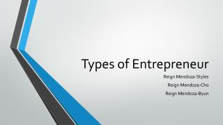 Types of Entrepreneur