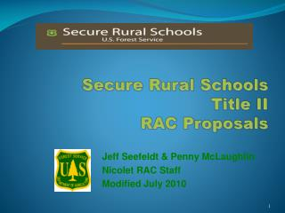 Secure Rural Schools Title II  RAC Proposals